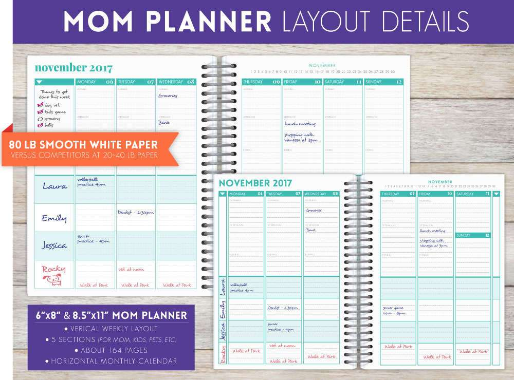 Design Your Own 6 X 8 Hard Cover Mom Planner Mom Planners