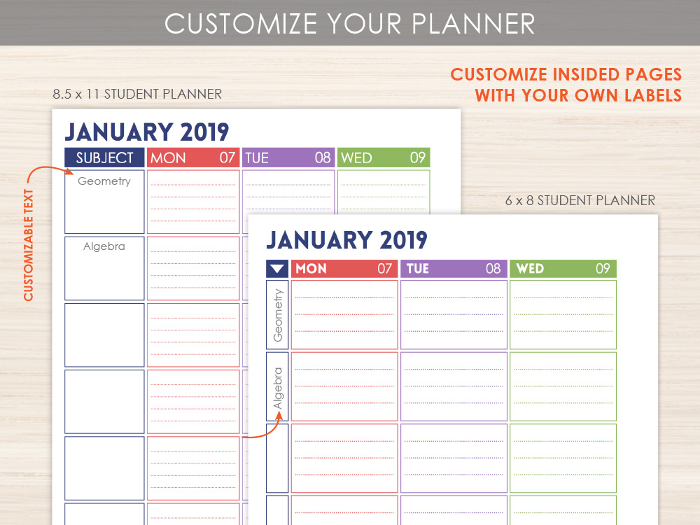 Custom Student Planner Layout Option