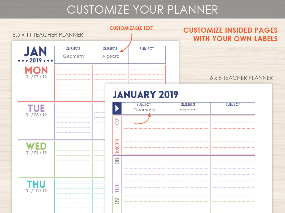 Custom Teacher Planner Layout Option