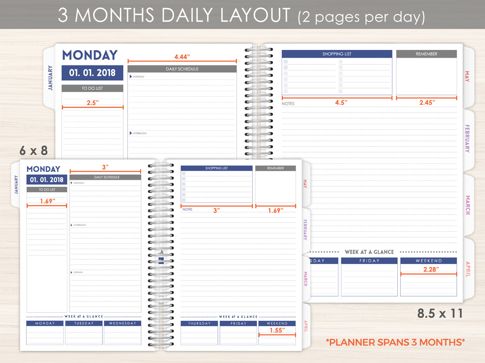 Custom Daily Planner Layout Options