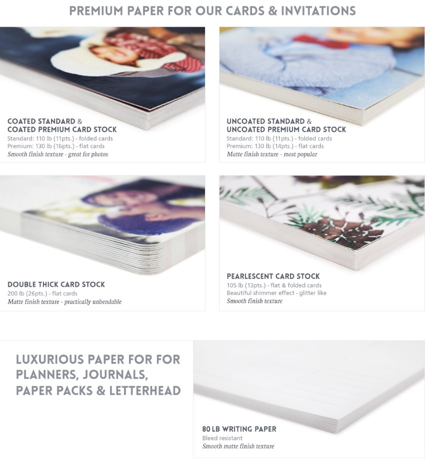 We offer multiple paper options for your cards