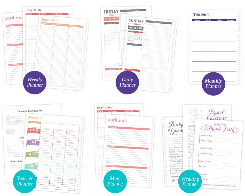 Daily, Weekly, Monthly, Teacher, Mom and Wedding Planner Layout