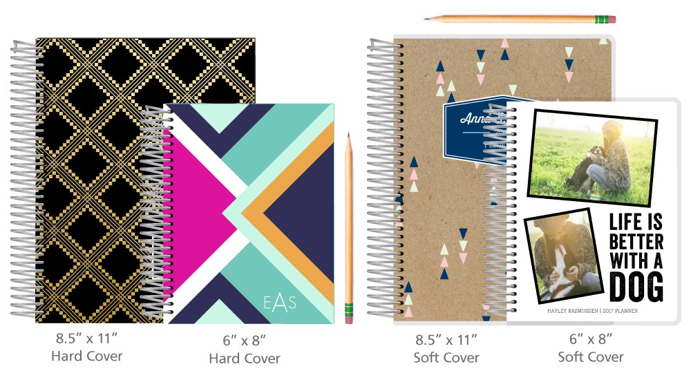 Planners are available in 8.5X 11 and 6x8 inch sizes