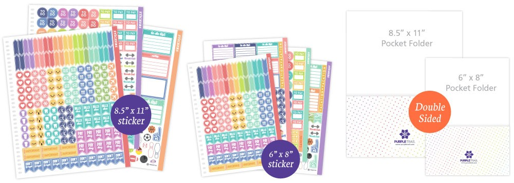 PurpleTrail Planner Stickers and Pocket folder options