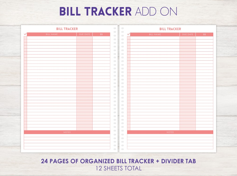 Bill Tracker Planner Add-On