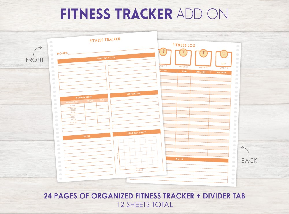 Fitness Tracker Planner Add-On