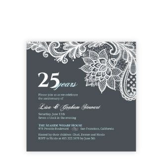 Top 10 anniversary invitation designs invitation ideas blue and white lace 25th anniversary invitation stopboris Gallery