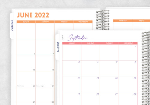 Choose your start month Or undated calendar