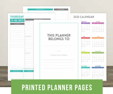 Printed Planner Pages
