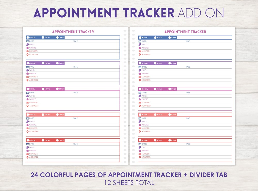 Appointment Tracker Planner Add-On