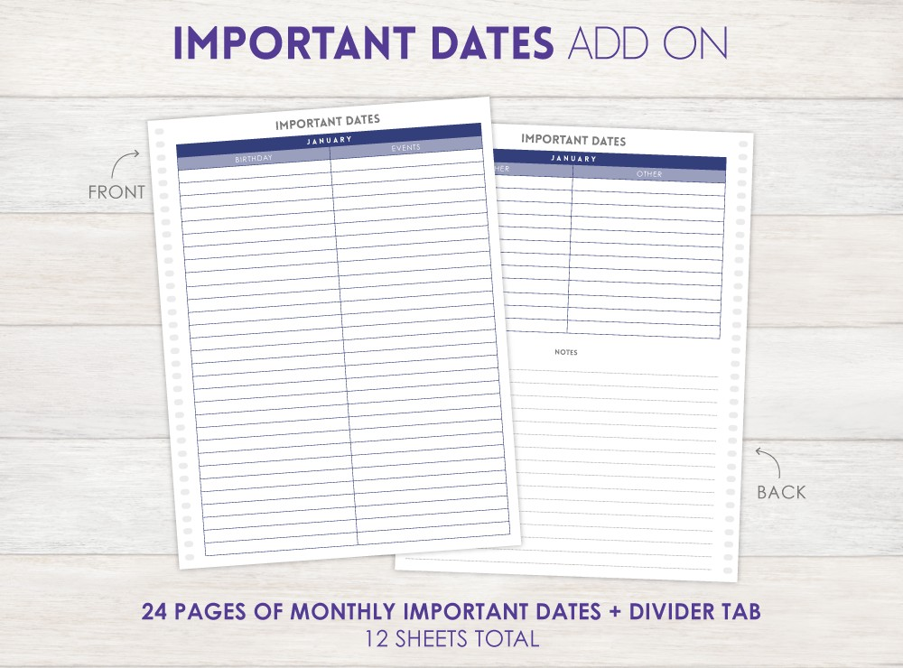 Important Dates Planner Add-On