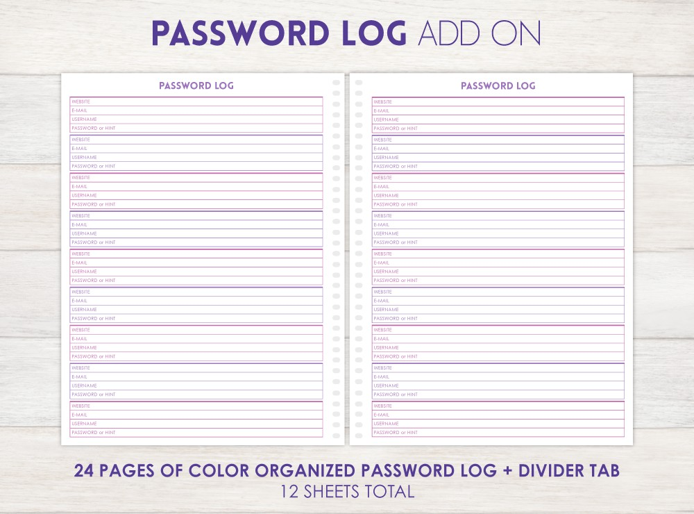 Password Log Planner Add-On