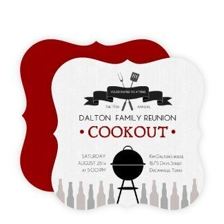 Rustic Linen Family Cookout Reunion Invitation